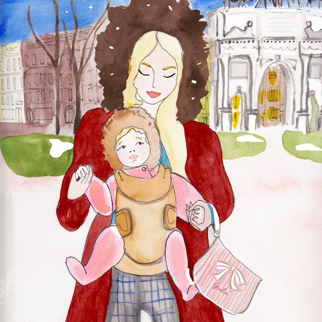 Illustrazione di mamma con bimba al parco e borsa mamma Solferina al braccio
