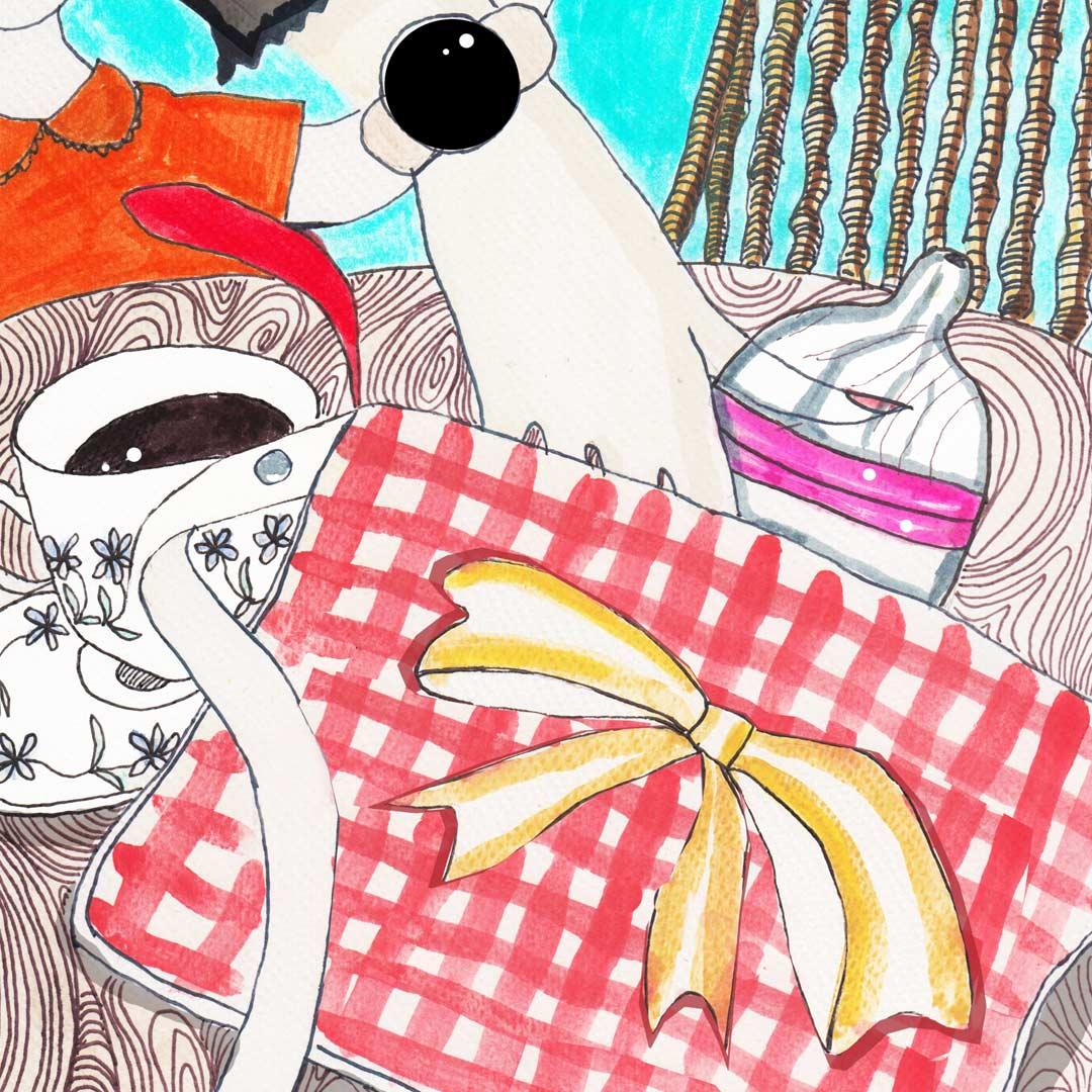 Illustrazione di pochette Belbebè con oggetti utili alla mamma