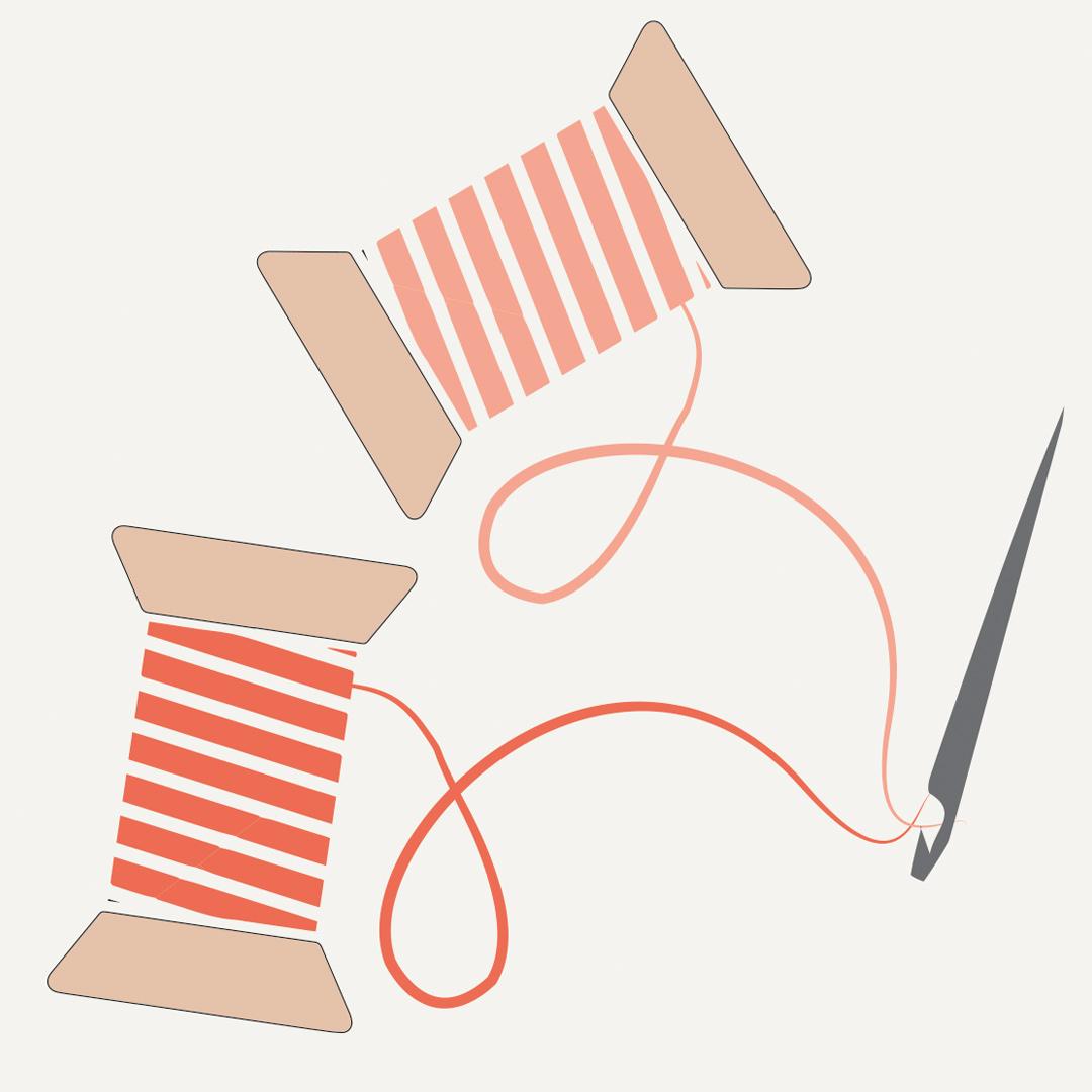 Illustrazione di due rotolini di filo da ricamo e ago