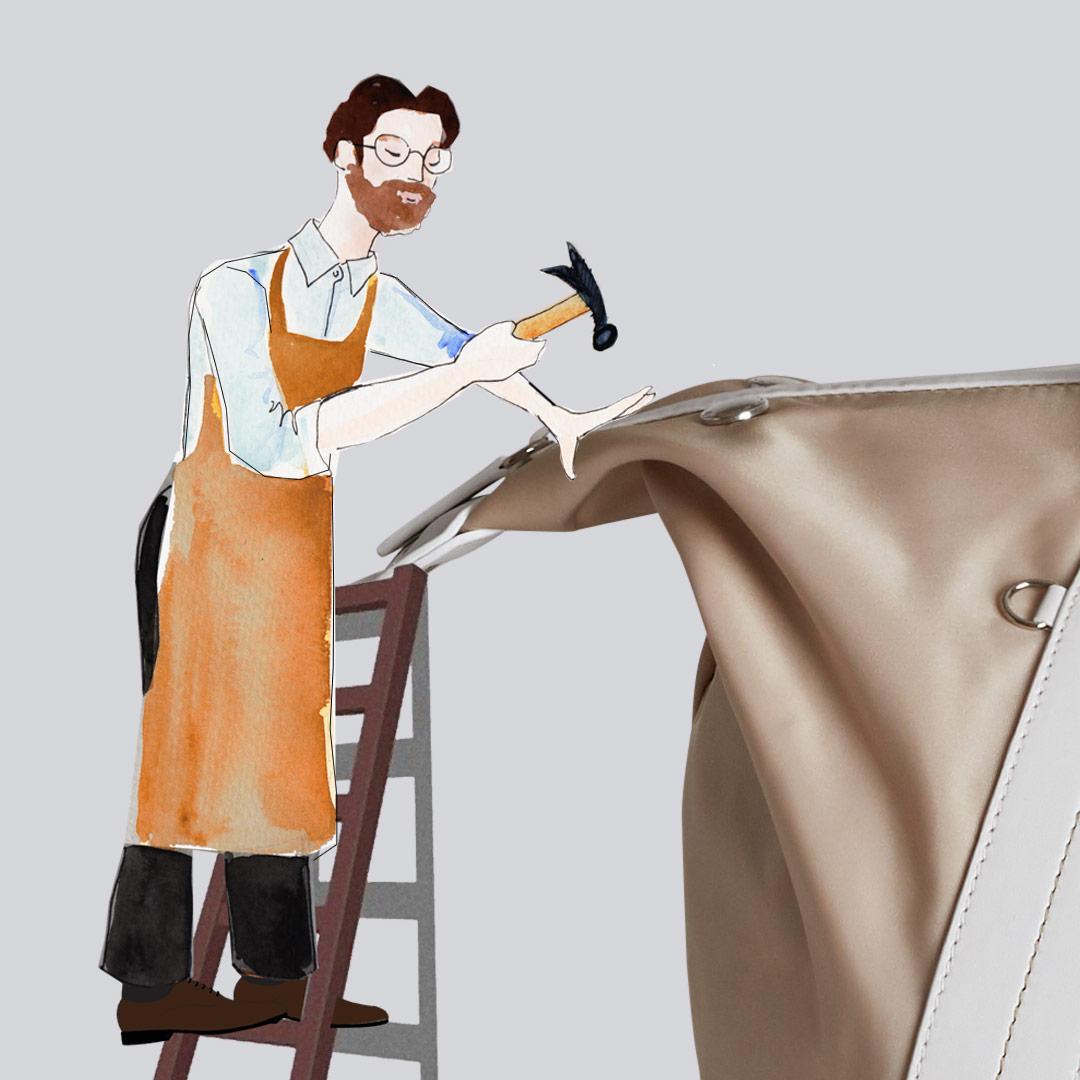 Made in Italy, illustrazione di  artigiano al lavoro sulla borsa mamma Solferina