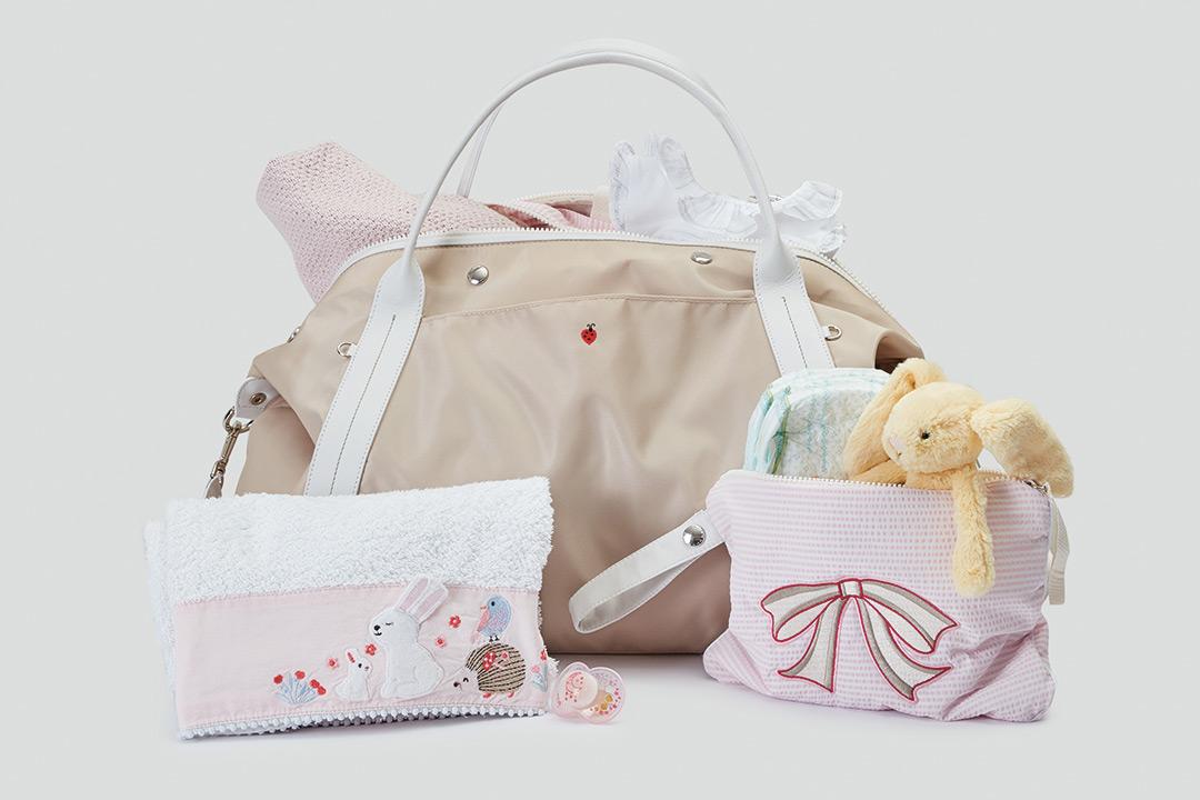 """Set Nascita """"NON FACCIO TARDI"""":  la borsa mamma Solferina e la Pochette bebè """"Belbelè"""""""
