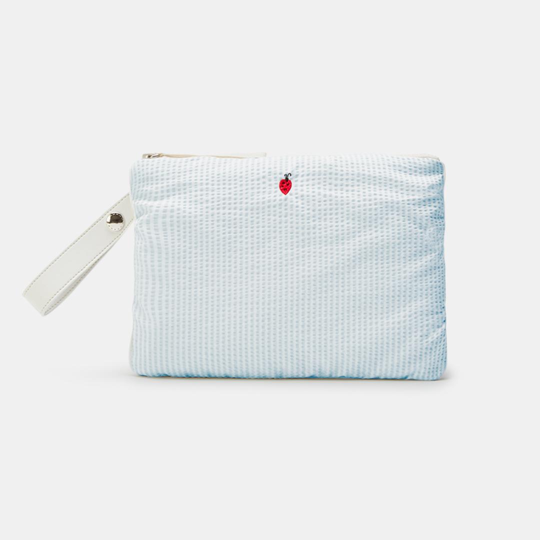 Pochette azzurra con coccinella