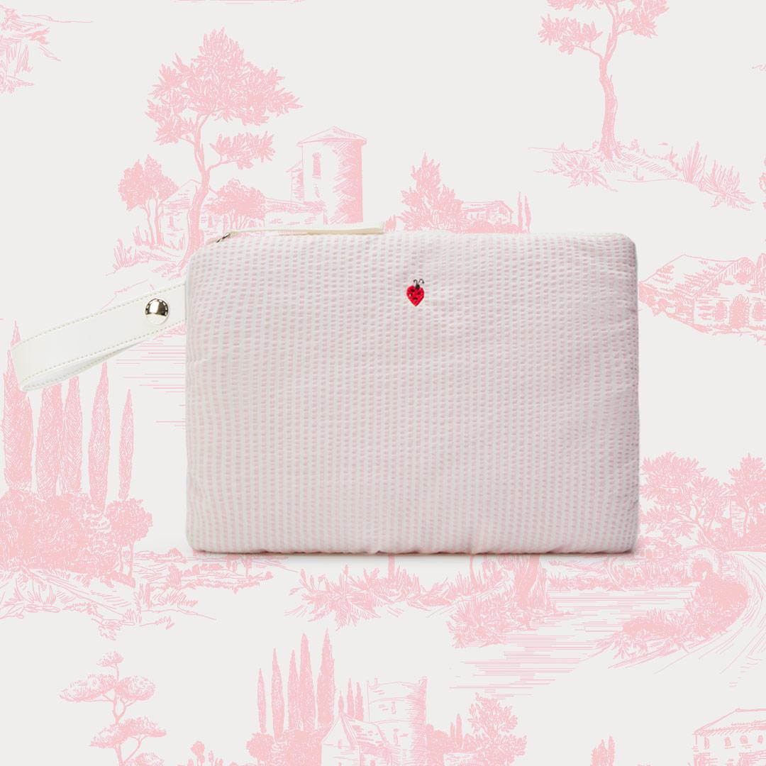 Pochette righine fiocco rosa frontale